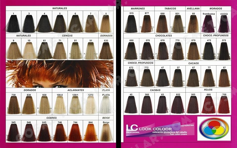 Gama de colores de tintes para pelo
